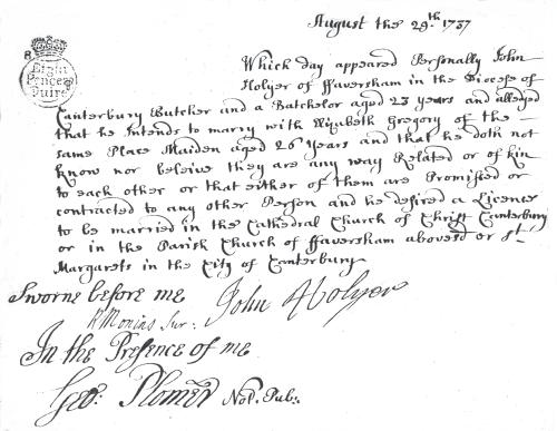 John Holyer's marriage allegation 1737