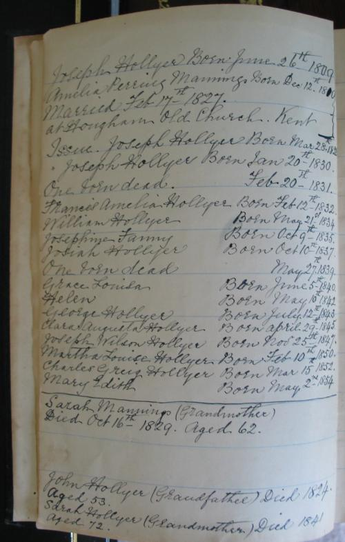 Mary Edith Hollyer's family bible